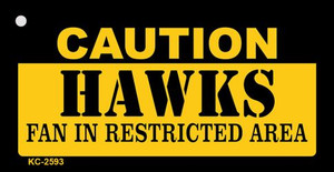 Caution Hawks Fan Area Wholesale Key Chain KC-2593