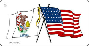 Illinois Crossed US Flag Wholesale Key Chain