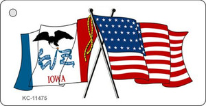 Iowa Crossed US Flag Wholesale Key Chain