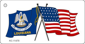 Louisiana Crossed US Flag Wholesale Key Chain