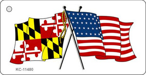Maryland Crossed US Flag Wholesale Key Chain