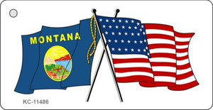 Montana Crossed US Flag Wholesale Key Chain