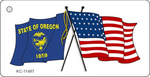 Oregon Crossed US Flag Wholesale Key Chain