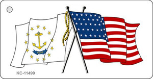 Rhode Island Crossed US Flag Wholesale Key Chain