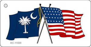 South Carolina Crossed US Flag Wholesale Key Chain