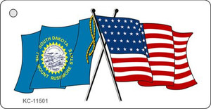 South Dakota Crossed US Flag Wholesale Key Chain