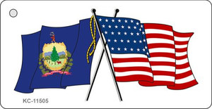 Vermont Crossed US Flag Wholesale Key Chain