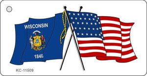 Wisconsin Crossed US Flag Wholesale Key Chain