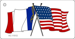 France Crossed US Flag Wholesale Key Chain