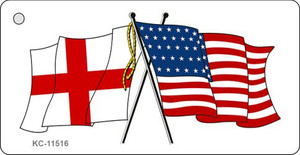 England Crossed US Flag Wholesale Key Chain