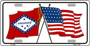 Arkansas Crossed US Flag Wholesale License Plate LP-11464