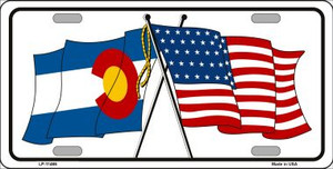 Colorado Crossed US Flag Wholesale License Plate LP-11466