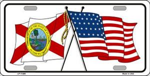 Florida Crossed US Flag Wholesale License Plate LP-11469