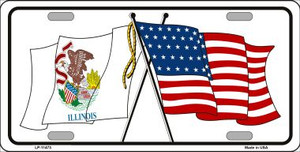 Illinois Crossed US Flag Wholesale License Plate LP-11473