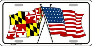 Maryland Crossed US Flag Wholesale License Plate