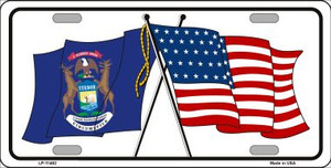 Michigan Crossed US Flag Wholesale License Plate LP-11482