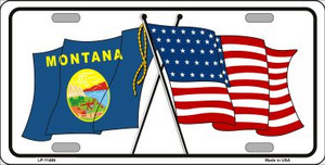 Montana Crossed US Flag Wholesale License Plate LP-11486