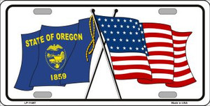 Oregon Crossed US Flag Wholesale License Plate LP-11497