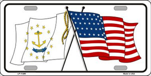 Rhode Island Crossed US Flag Wholesale License Plate LP-11499
