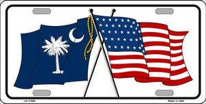 South Carolina Crossed US Flag Wholesale License Plate LP-11500