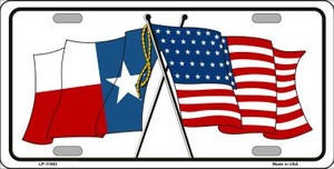 Texas Crossed US Flag Wholesale License Plate LP-11503