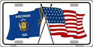 Wisconsin Crossed US Flag Wholesale License Plate LP-11509