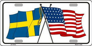 Sweden Crossed US Flag Wholesale License Plate LP-11514