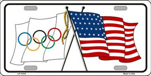 Olympic Crossed US Flag Wholesale License Plate LP-11519