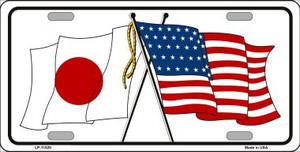 Japan Crossed US Flag Wholesale License Plate LP-11520