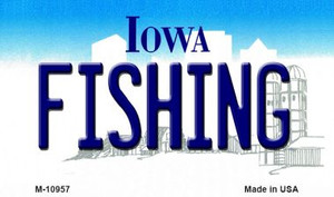 Fishing Iowa State License Plate Novelty Wholesale Magnet M-10957