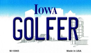 Golfer Iowa State License Plate Novelty Wholesale Magnet M-10965