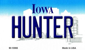 Hunter Iowa State License Plate Novelty Wholesale Magnet M-10966
