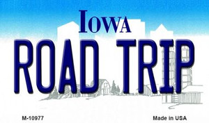 Road Trip Iowa State License Plate Novelty Wholesale Magnet M-10977
