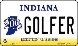 Golfer Indiana State License Plate Novelty Wholesale Magnet M-6387