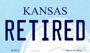 Retired Kansas State License Plate Novelty Wholesale Magnet M-6618