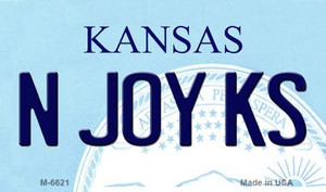 N Joy KS Kansas State License Plate Novelty Wholesale Magnet M-6621