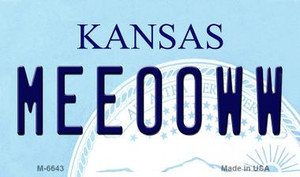 Meeooww Kansas State License Plate Novelty Wholesale Magnet M-6643