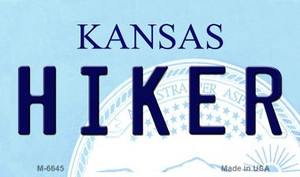 Hiker Kansas State License Plate Novelty Wholesale Magnet M-6645