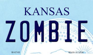Zombie Kansas State License Plate Novelty Wholesale Magnet M-6748
