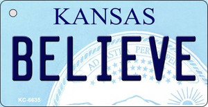 Believe Kansas State License Plate Novelty Wholesale Key Chain KC-6635