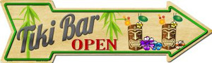 Tiki Bar Open Wholesale Metal Novelty Arrow Sign A-370