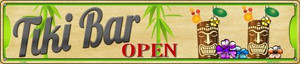 Tiki Bar Open Wholesale Novelty Metal Street Sign ST-648