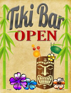 Tiki Bar Open Wholesale Metal Novelty Parking Sign P-1720