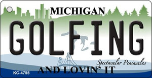 Golfing Michigan State License Plate Novelty Wholesale Key Chain KC-4755