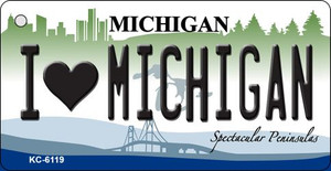 I Love Michigan State License Plate Novelty Wholesale Key Chain KC-6119