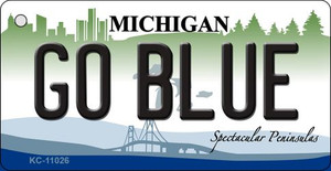 Go Blue Michigan State License Plate Novelty Wholesale Key Chain KC-11026
