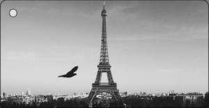 Eiffel Tower - Black and White With Bird Novelty Wholesale Key Chain