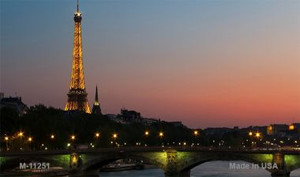 Eiffel Tower - Night With River and Bridge Novelty Wholesale Magnet M-11251
