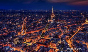 Paris At Night - Eiffel Tower In Center Novelty Wholesale Magnet M-11252