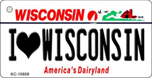 I Love Wisconsin License Plate Novelty Wholesale Key Chain KC-10609
